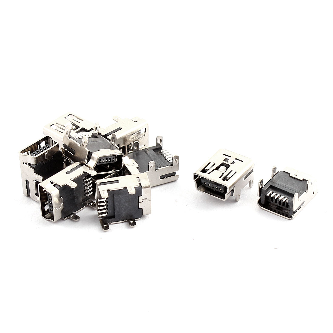 10 Pcs Mini USB Type B Female Socket 5-Pin Jack Connector Adapter