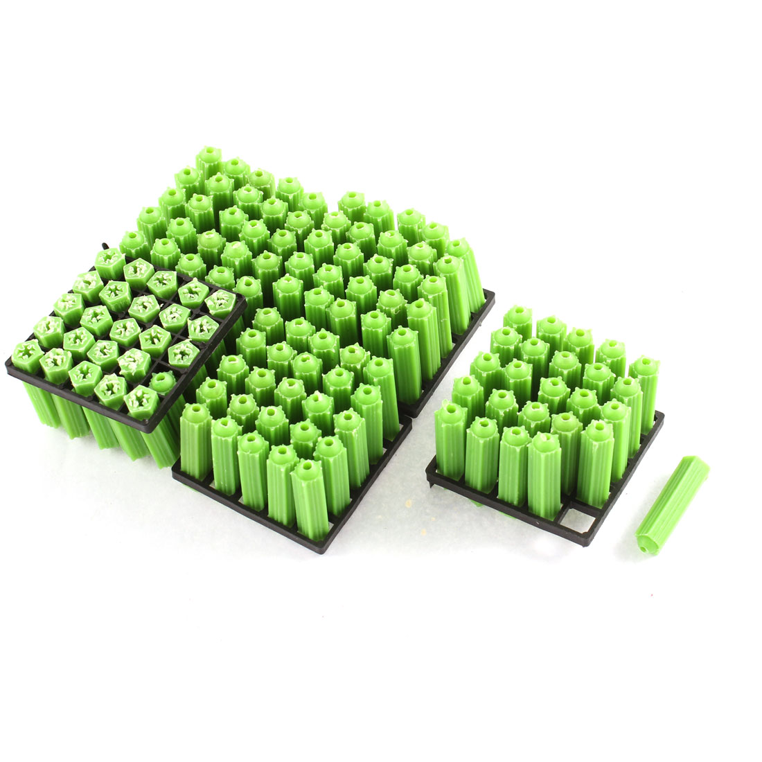 125Pcs Green Plastic Masonry Screws Anchor Fixing Star Wall Connector 7x26mm