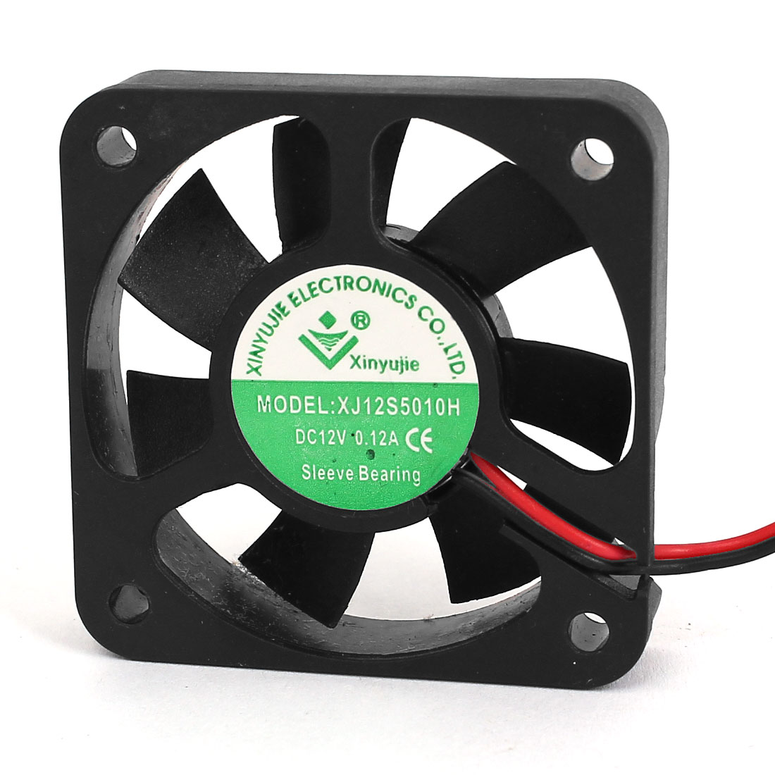 DC 12V 0.12A 2-Wired Black Plastic Square Frame Sleeve Bearing Axial Cooling Fan