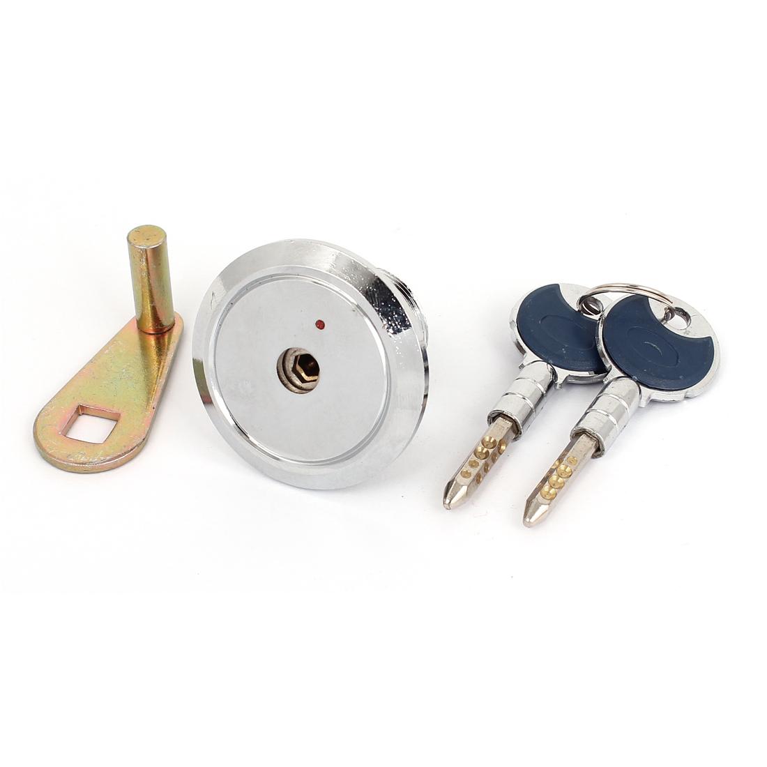 "Cupboard Door 1.8"" Dia Shaft Round Shape Handle Security Lock w Two Keys"