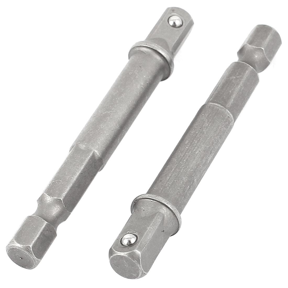 "65mm Long 1/4"" Hex Shank Driver Bit Nut Setter Socket Adapter 2PCS"