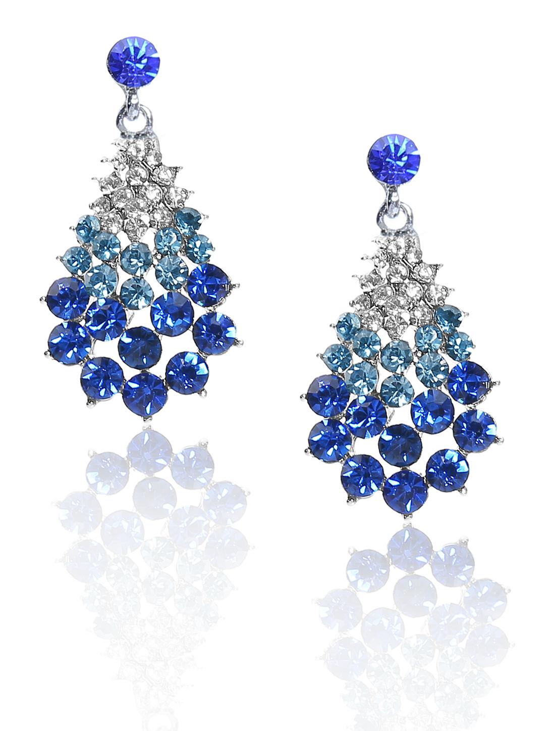 Women Fan-Shaped Rhinestone Drop Dangle Hook Earring Ear Stud Dark Blue