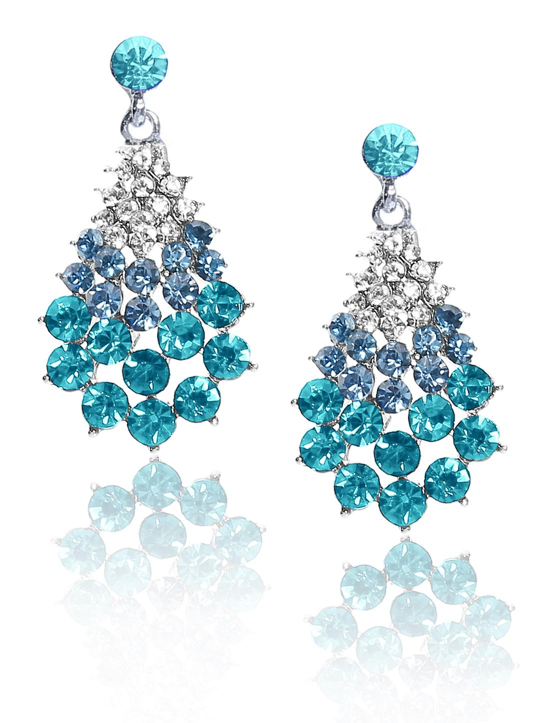 Women Fan-Shaped Rhinestone Drop Dangle Hook Earring Ear Stud Peacock Blue
