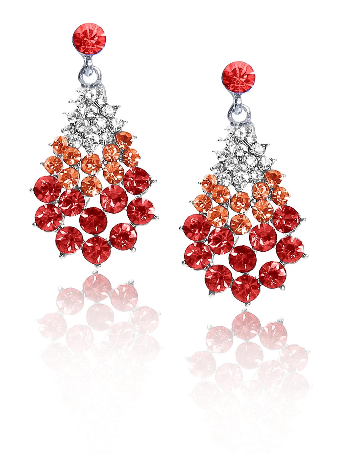 Women Fan-Shaped Rhinestone Drop Dangle Hook Earring Ear Stud Red