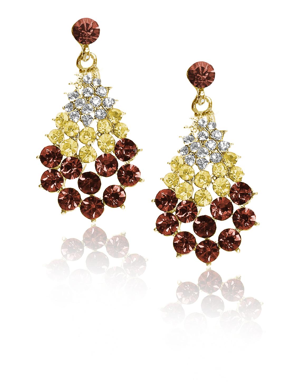 Women Fan-Shaped Rhinestone Drop Dangle Hook Earring Ear Stud Champagne