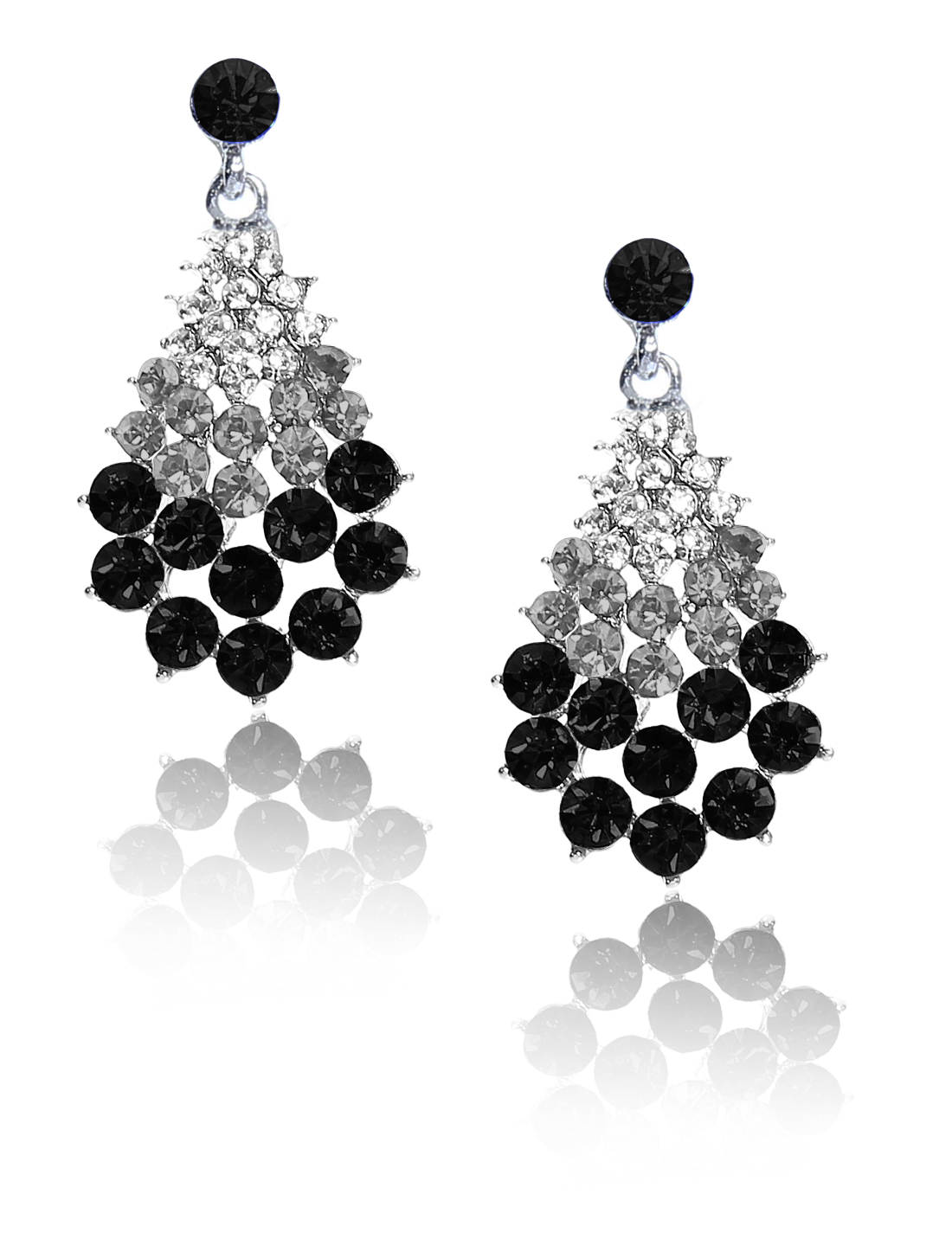 Women Fan-Shaped Rhinestone Drop Dangle Hook Earring Ear Stud Black