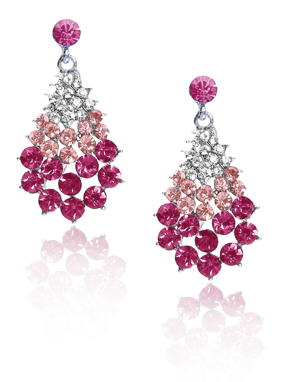Women Fan-Shaped Rhinestone Drop Dangle Hook Earring Ear Stud Rose Red