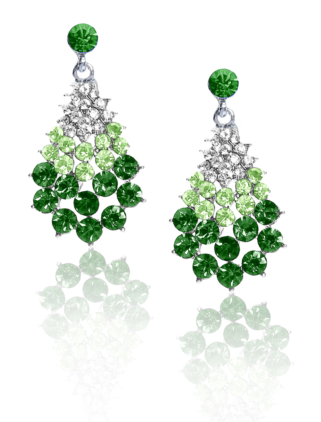 Women Fan-Shaped Rhinestone Drop Dangle Hook Earring Ear Stud Green