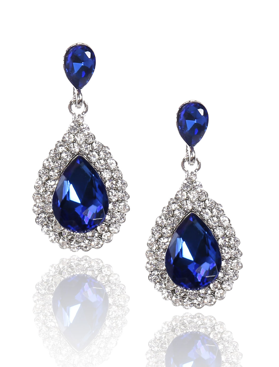 Women Waterdrop Rhinestone Drop Dangle Hook Earring Ear Stud Dark Blue