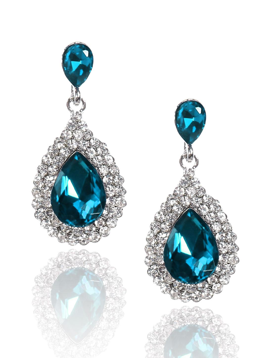 Women Waterdrop Rhinestone Drop Dangle Hook Earring Ear Stud Peacock Blue