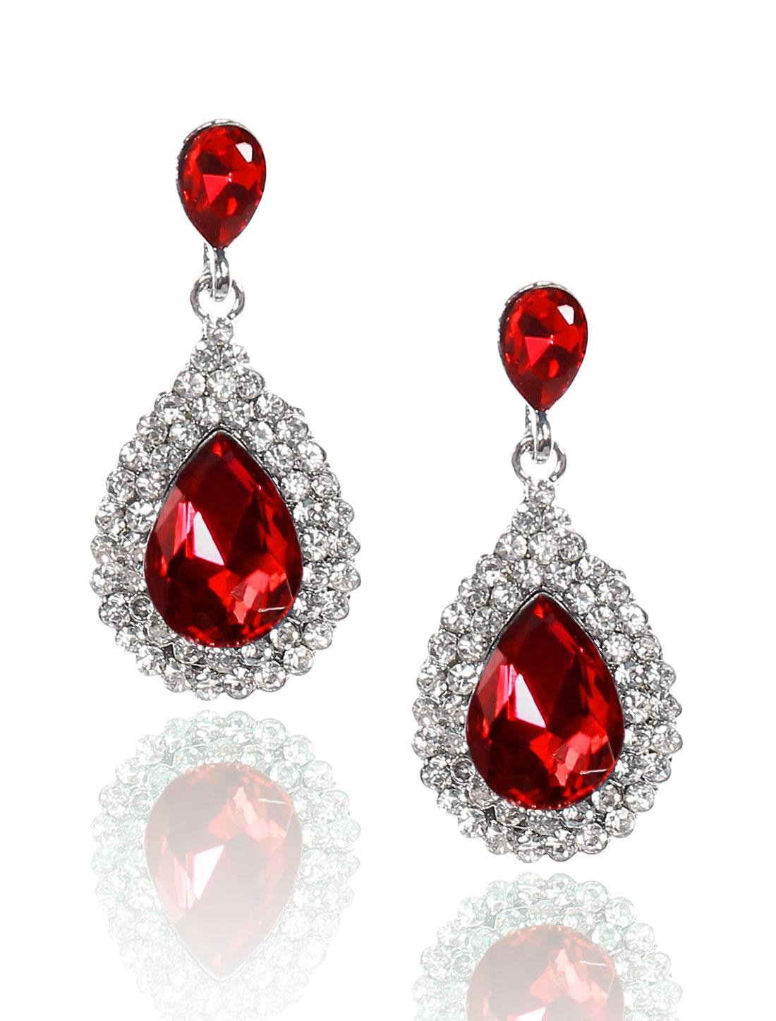 Women Waterdrop Rhinestone Drop Dangle Hook Earring Ear Stud Red