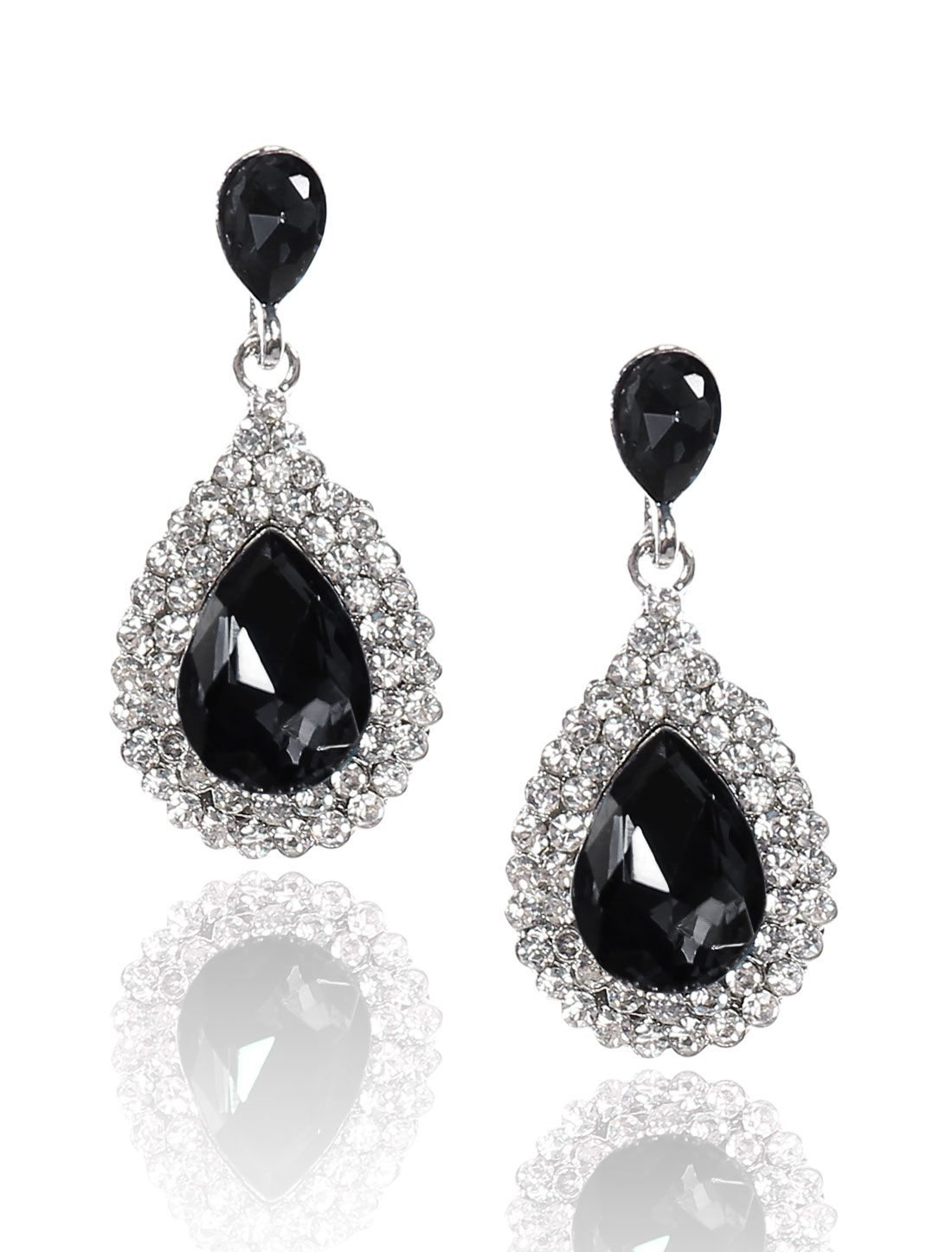 Women Waterdrop Rhinestone Drop Dangle Hook Earring Ear Stud Black