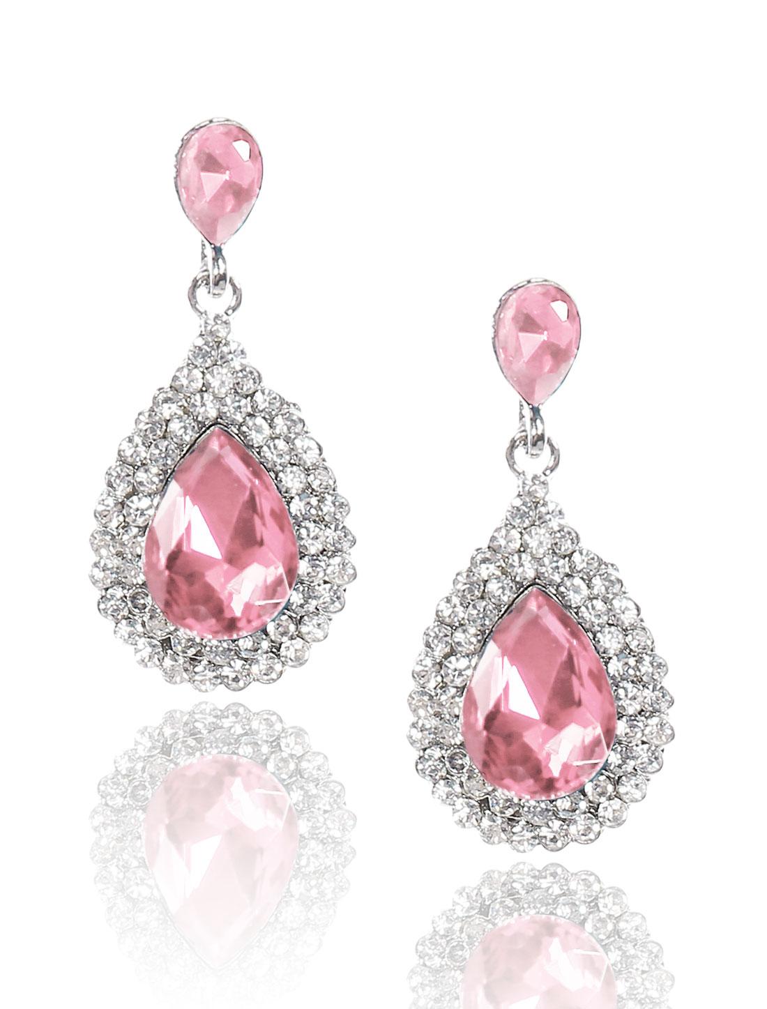 Women Waterdrop Rhinestone Drop Dangle Hook Earring Ear Stud Pink