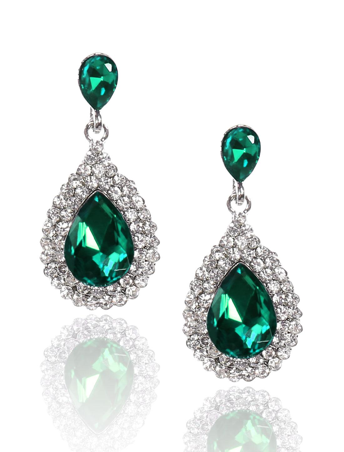 Women Waterdrop Rhinestone Drop Dangle Hook Earring Ear Stud Green
