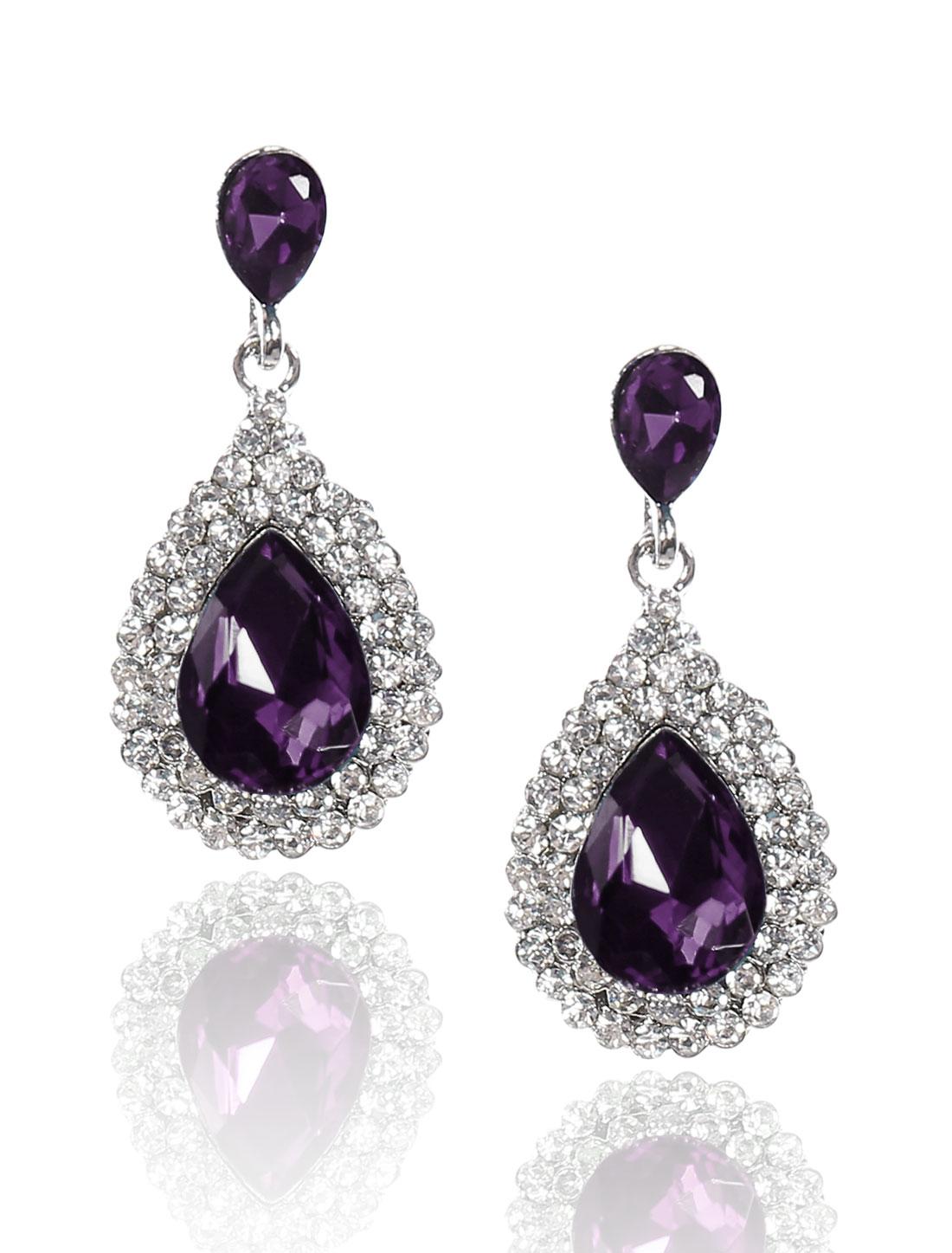 Women Waterdrop Rhinestone Drop Dangle Hook Earring Ear Stud Purple