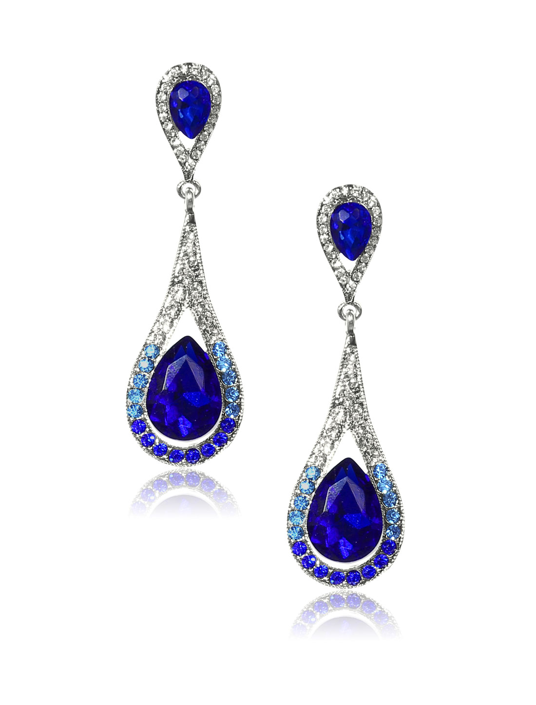 Women Long Waterdrop Rhinestone Drop Dangle Hook Earring Ear Stud Dark Blue