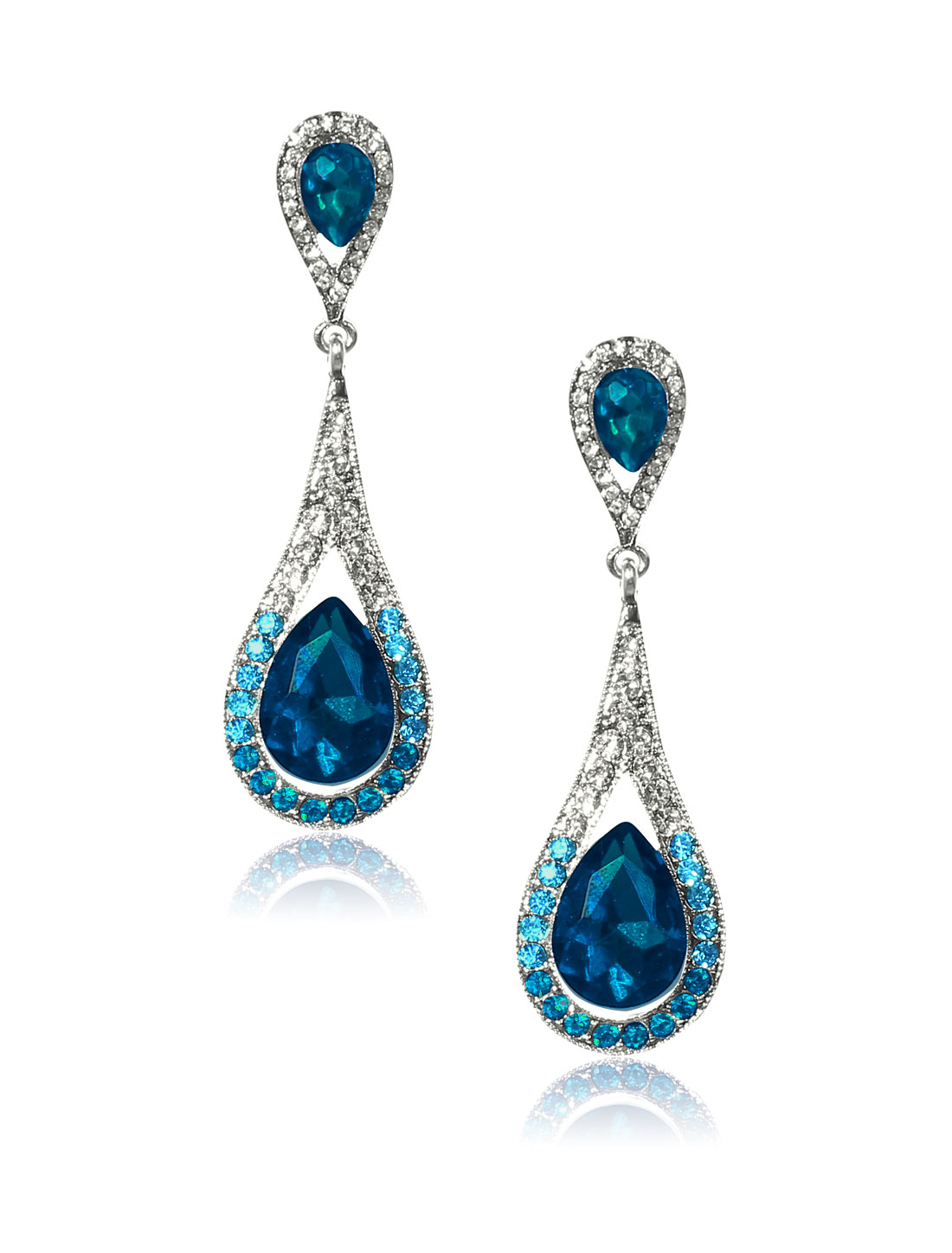Women Long Waterdrop Rhinestone Drop Dangle Hook Earring Ear Stud Peacock Blue