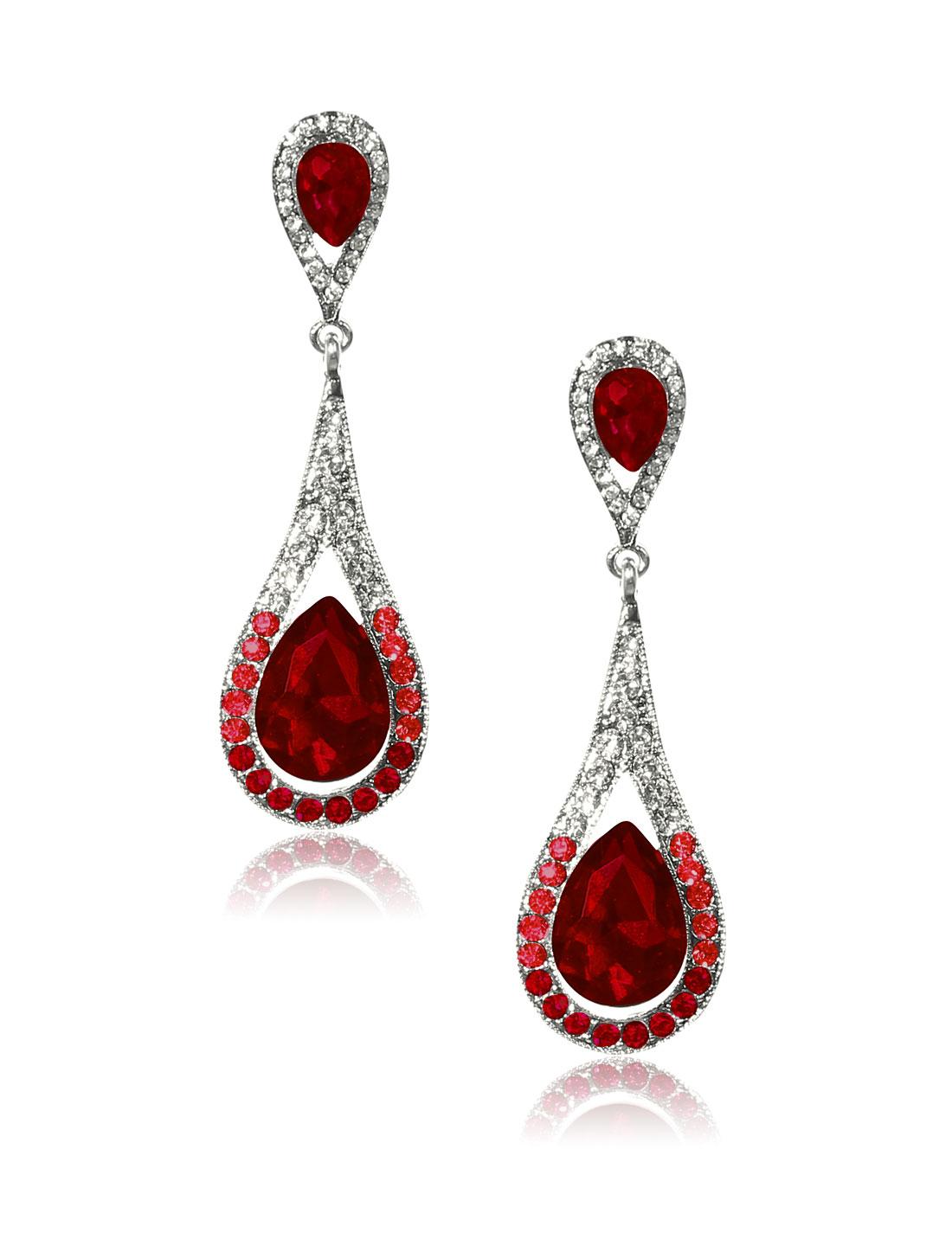Women Long Waterdrop Rhinestone Drop Dangle Hook Earring Ear Stud Red