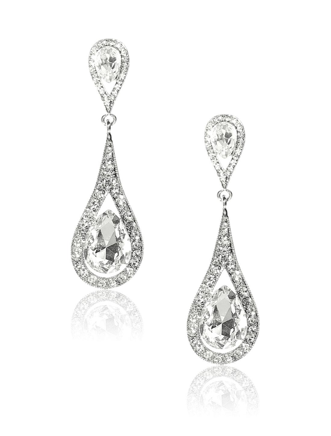 Women Long Waterdrop Rhinestone Drop Dangle Hook Earring Ear Stud White