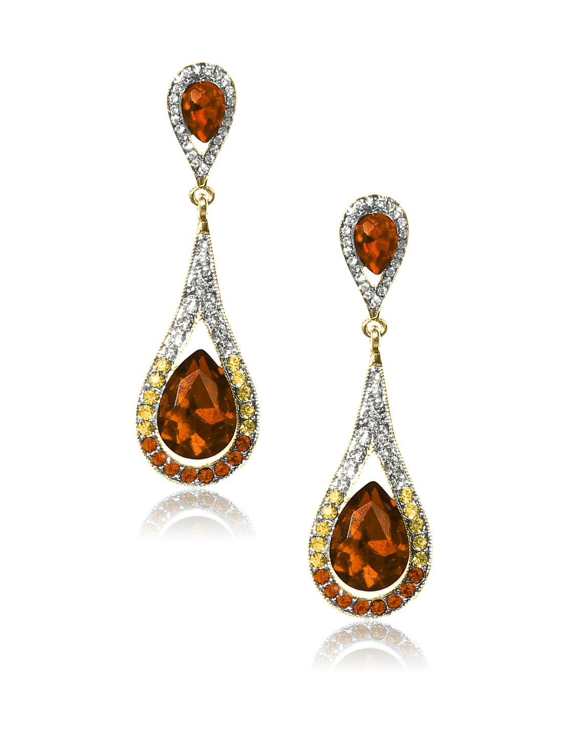 Women Long Waterdrop Rhinestone Drop Dangle Hook Earring Ear Stud Champagne