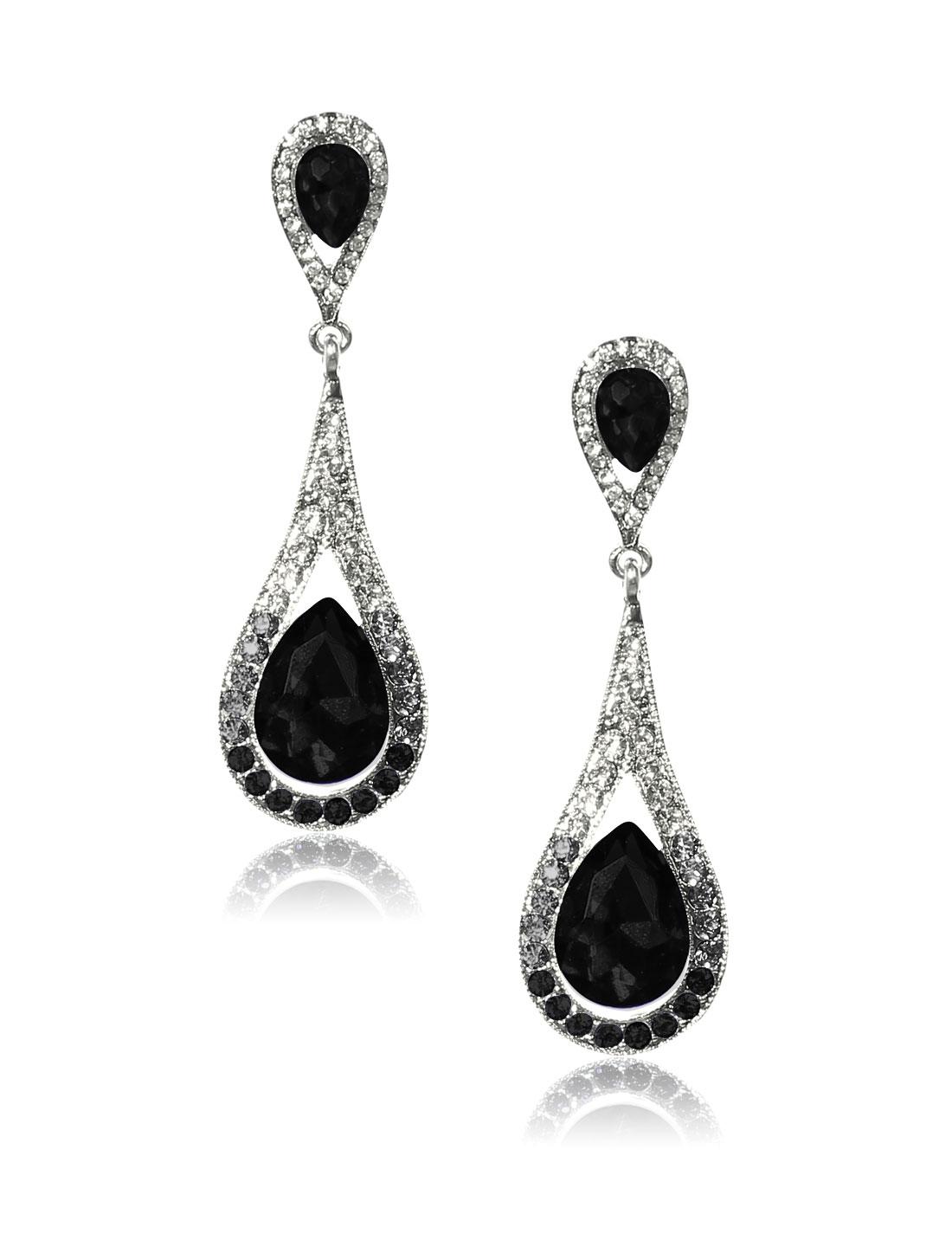 Women Long Waterdrop Rhinestone Drop Dangle Hook Earring Ear Stud Black