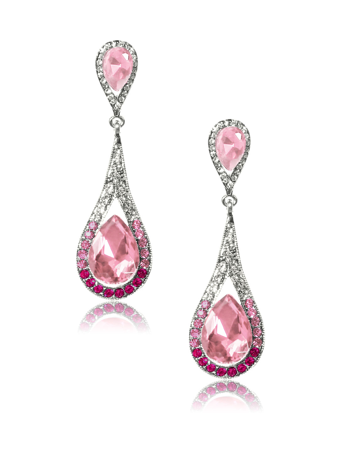 Women Long Waterdrop Rhinestone Drop Dangle Hook Earring Ear Stud Pink