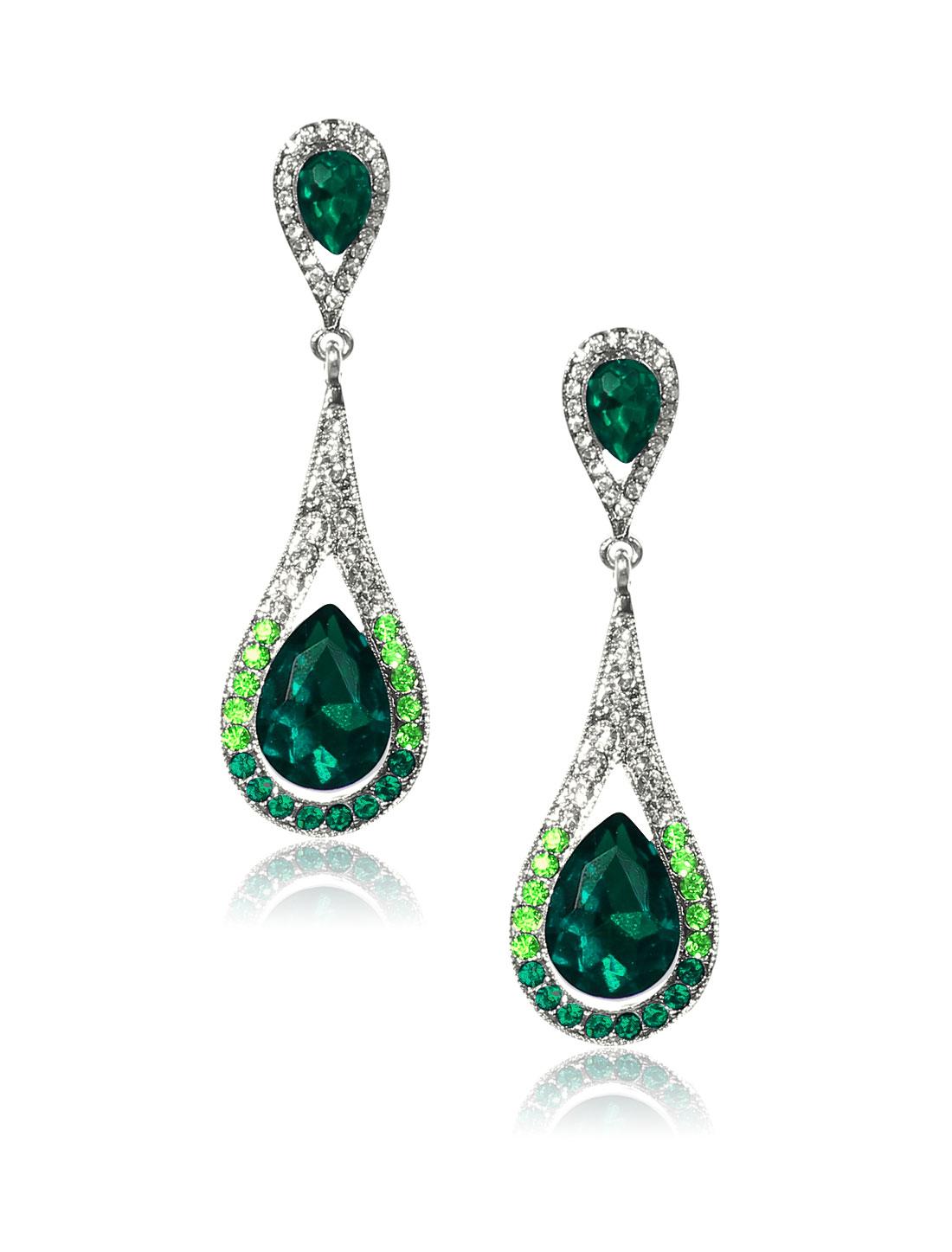 Women Long Waterdrop Rhinestone Drop Dangle Hook Earring Ear Stud Green