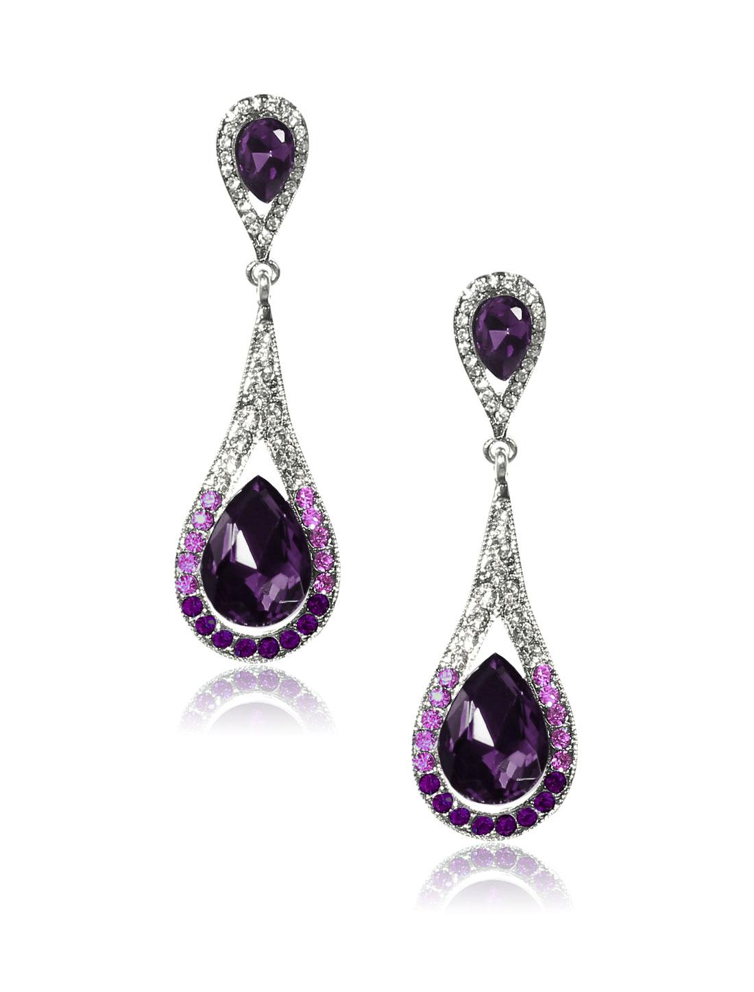 Women Long Waterdrop Rhinestone Drop Dangle Hook Earring Ear Stud Purple