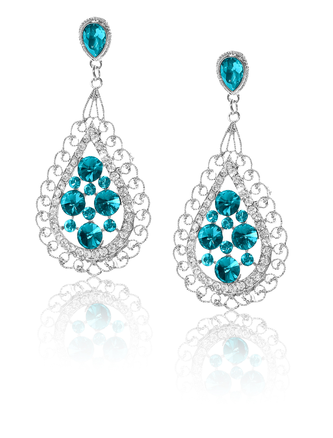 Women Bosimia Style Rhinestone Drop Dangle Hook Earring Ear Stud Peacock Blue