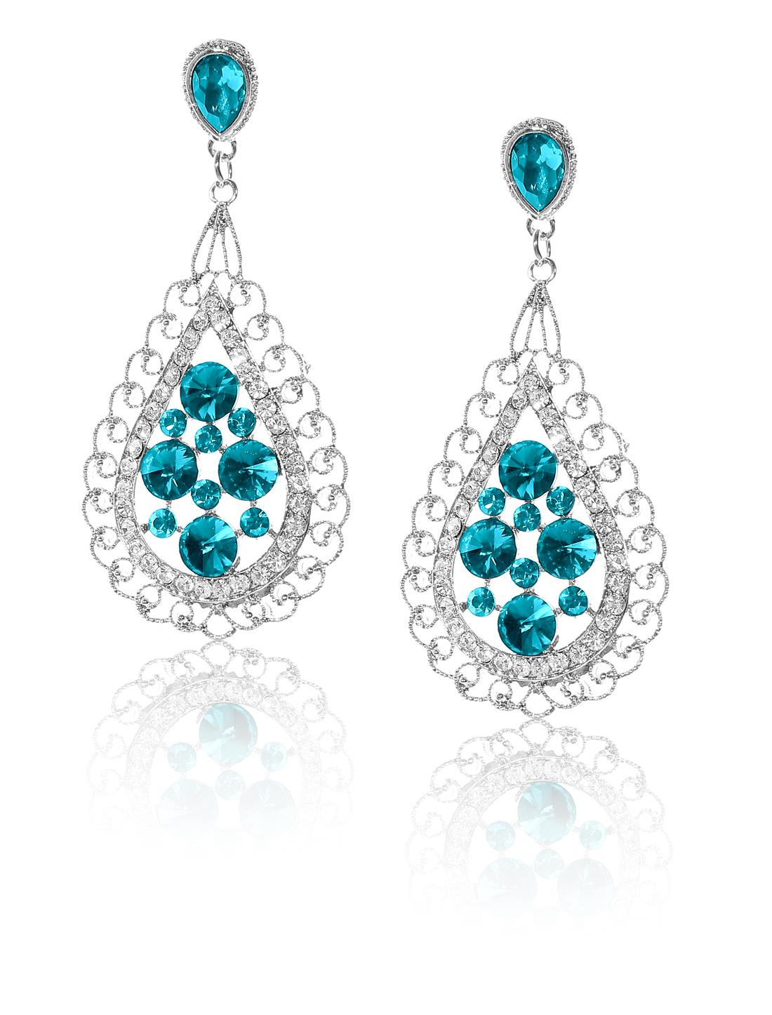 Women Bosimia Style Rhinestone Drop Dangle Hook Earring Ear Stud Peacock Blue