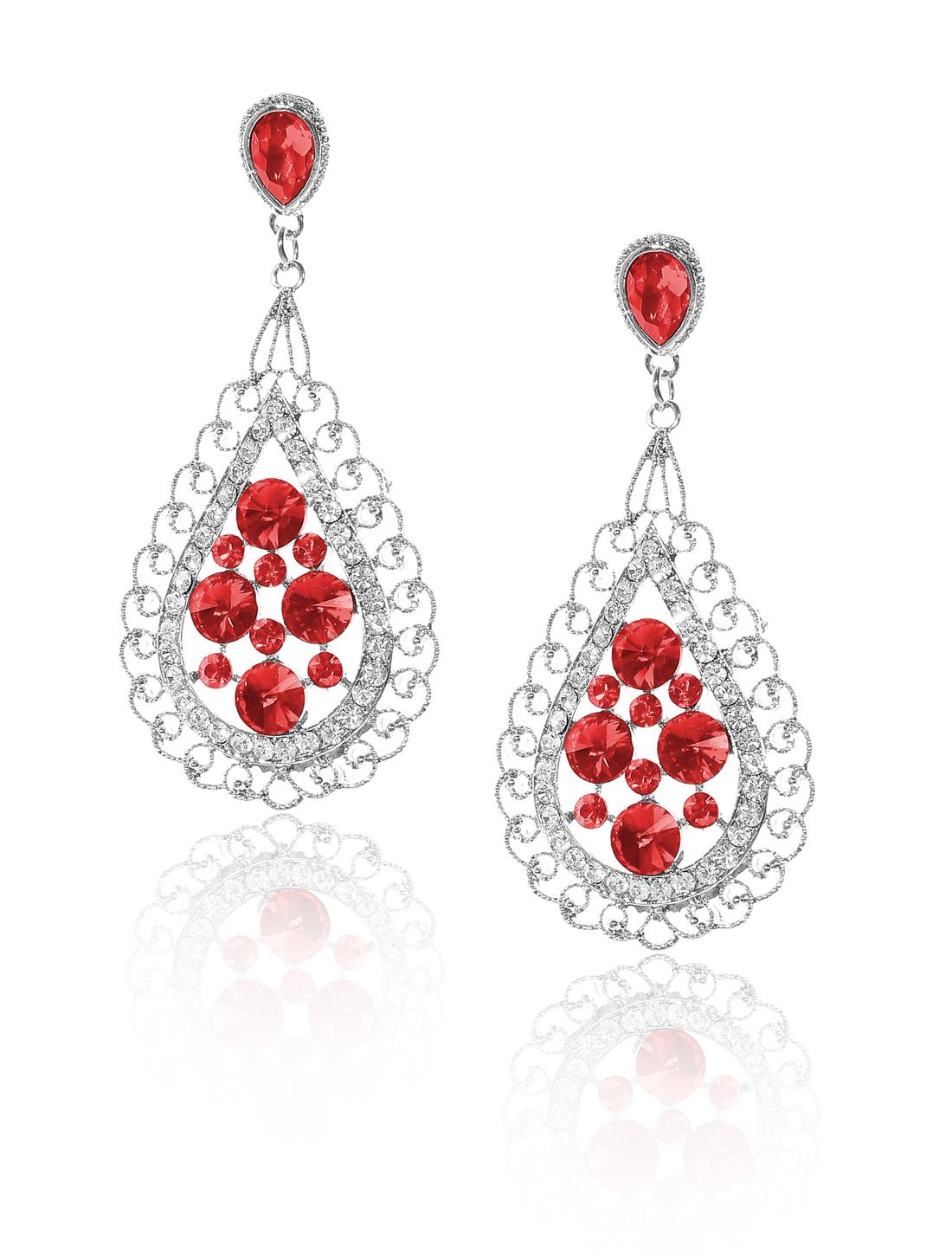 Women Bosimia Style Rhinestone Drop Dangle Hook Earring Ear Stud Red
