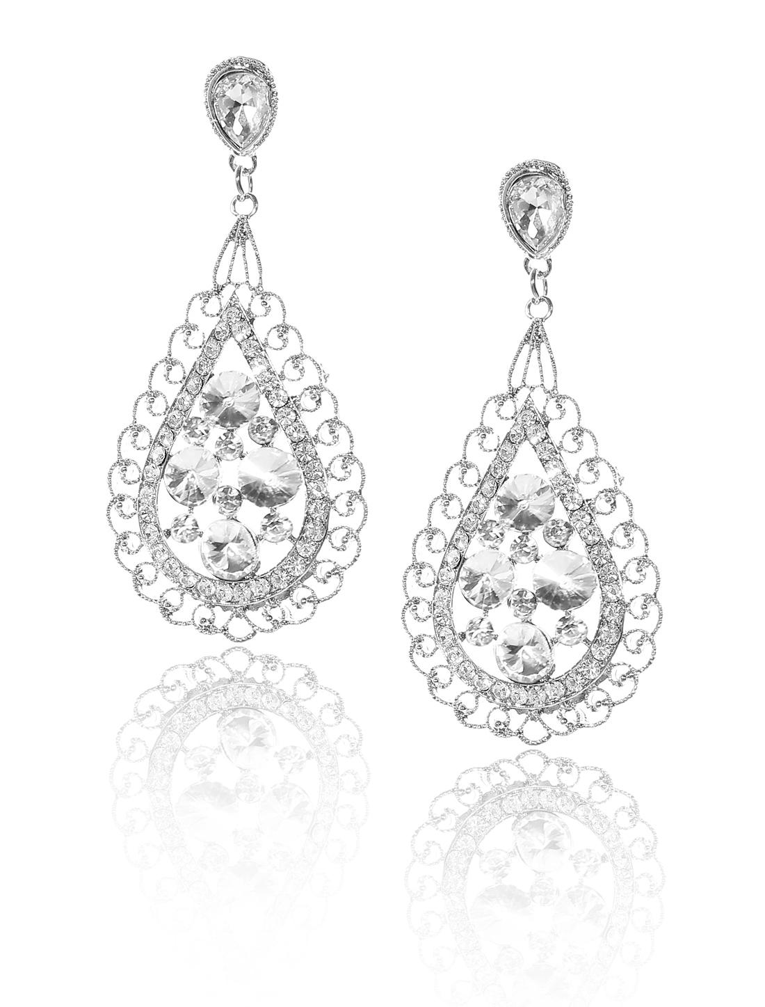 Women Bosimia Style Rhinestone Drop Dangle Hook Earring Ear Stud White