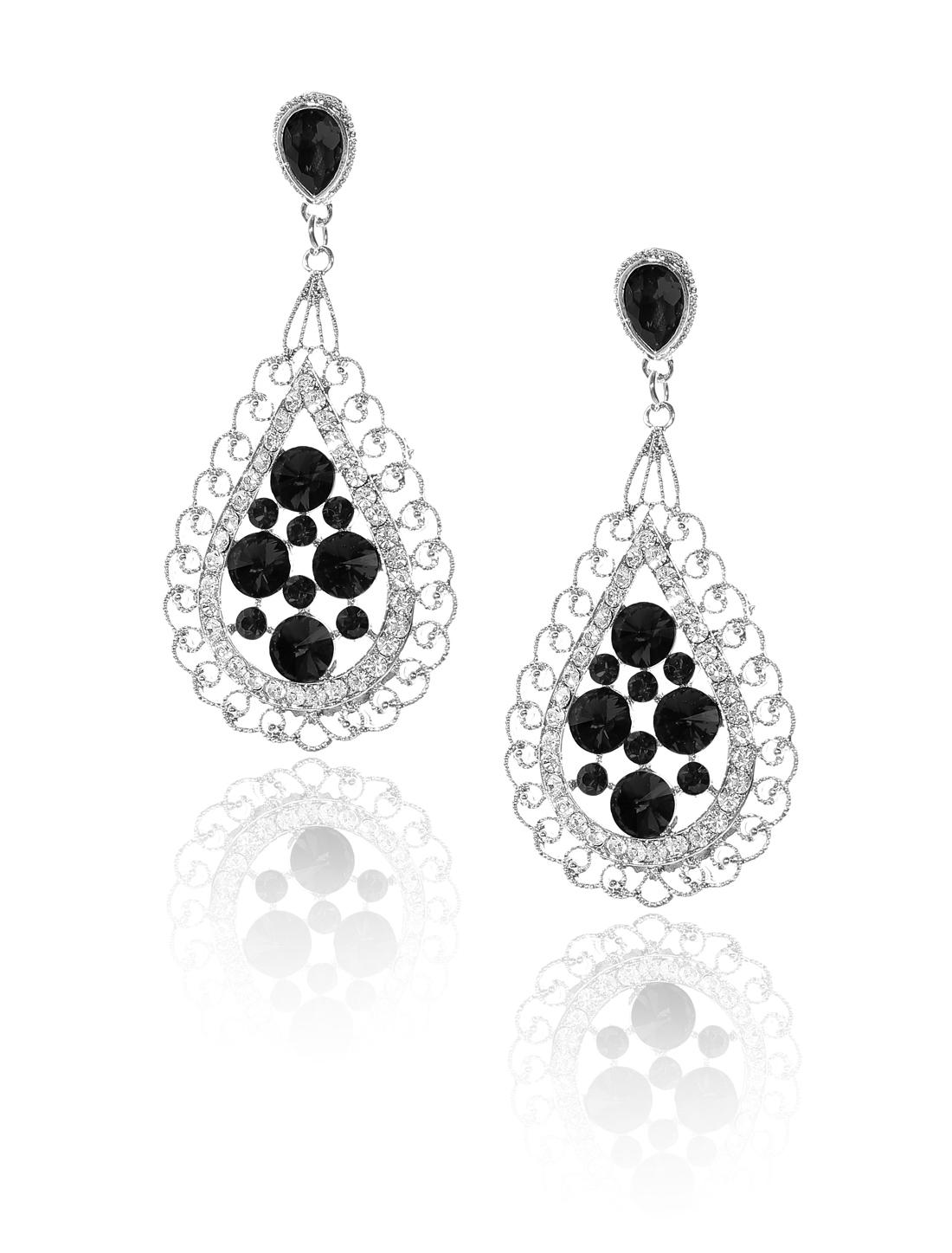 Women Bosimia Style Rhinestone Drop Dangle Hook Earring Ear Stud Black