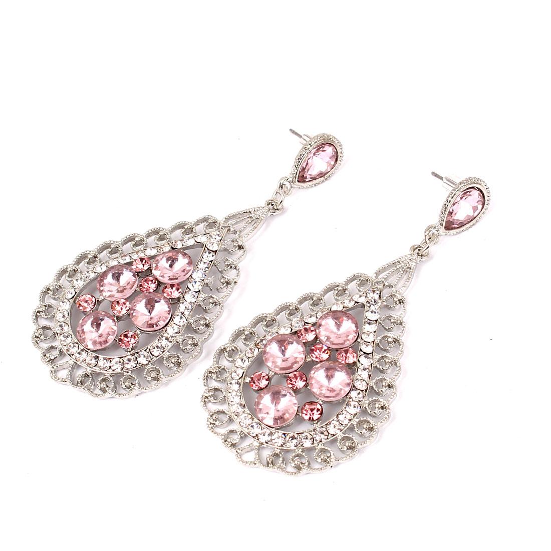 Women Bosimia Style Rhinestone Drop Dangle Hook Earring Ear Stud Pink