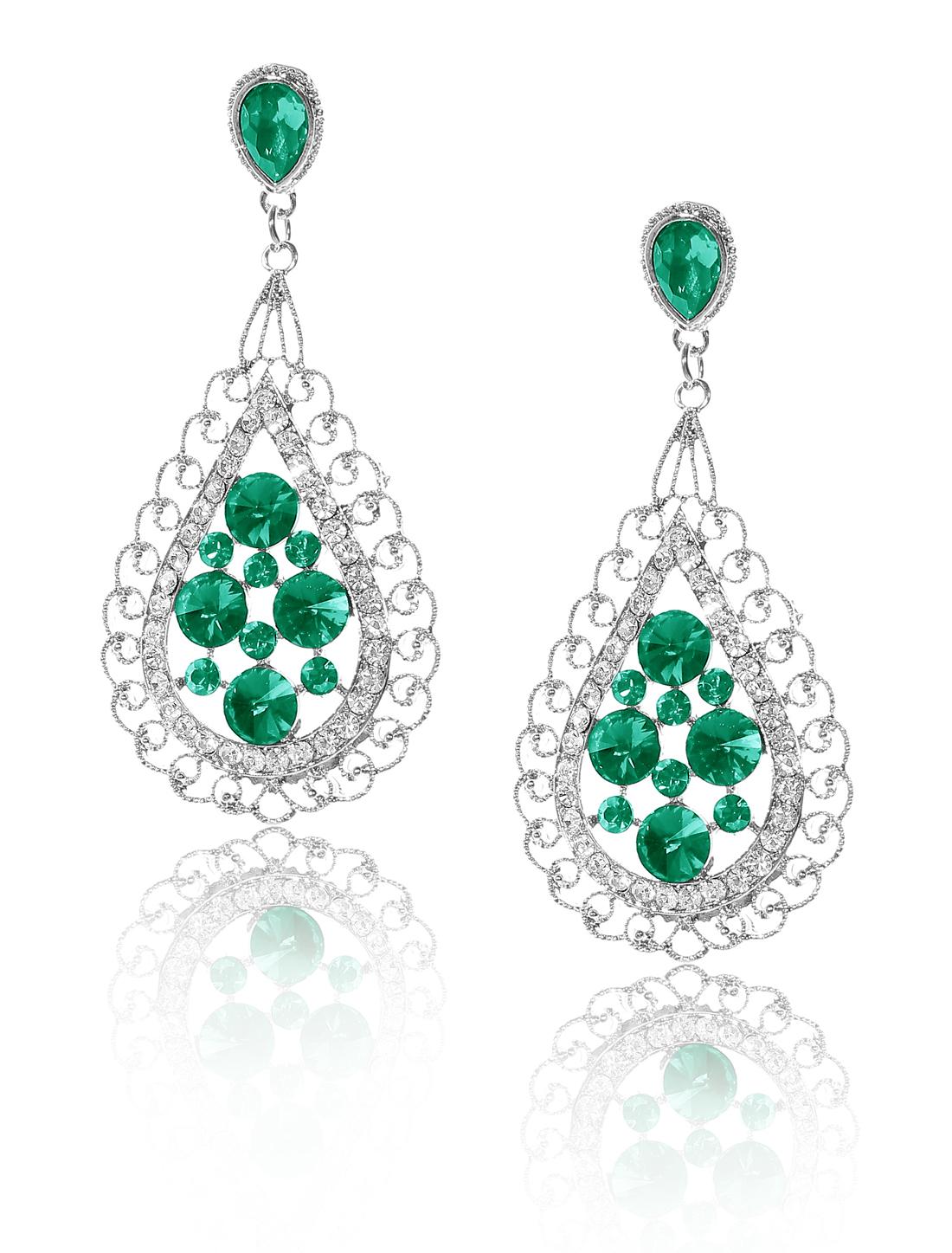 Women Bosimia Style Rhinestone Drop Dangle Hook Earring Ear Stud Green