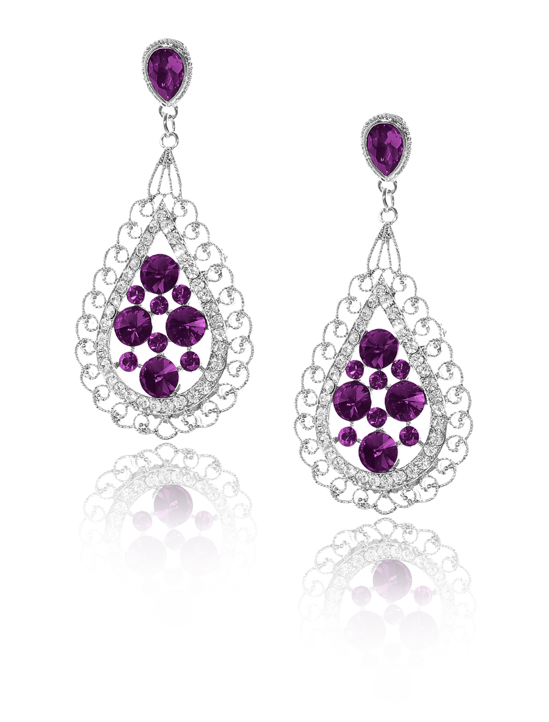 Women Bosimia Style Rhinestone Drop Dangle Hook Earring Ear Stud Purple