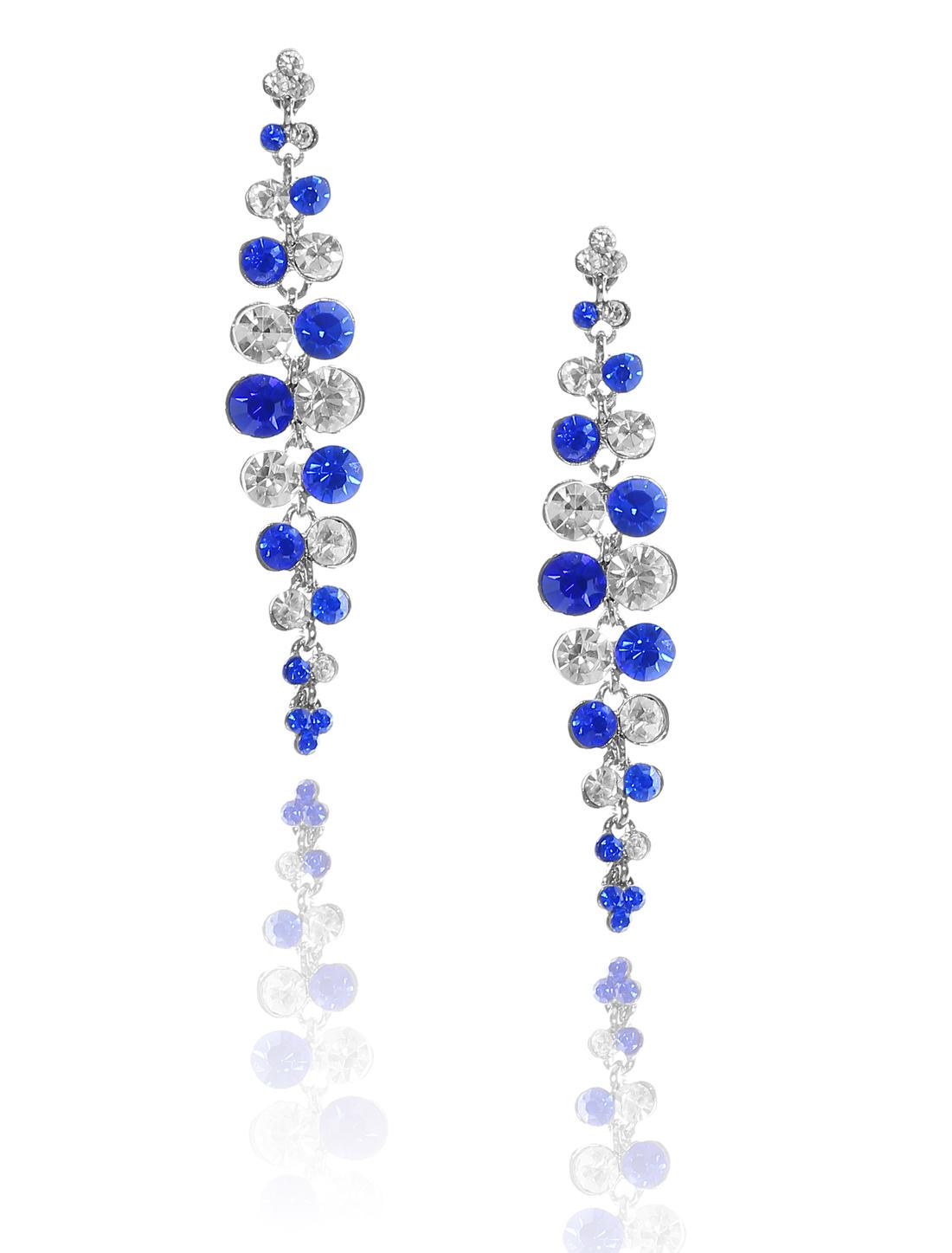 Women Long Tassel Rhinestone Drop Dangle Hook Earring Ear Stud Dark Blue