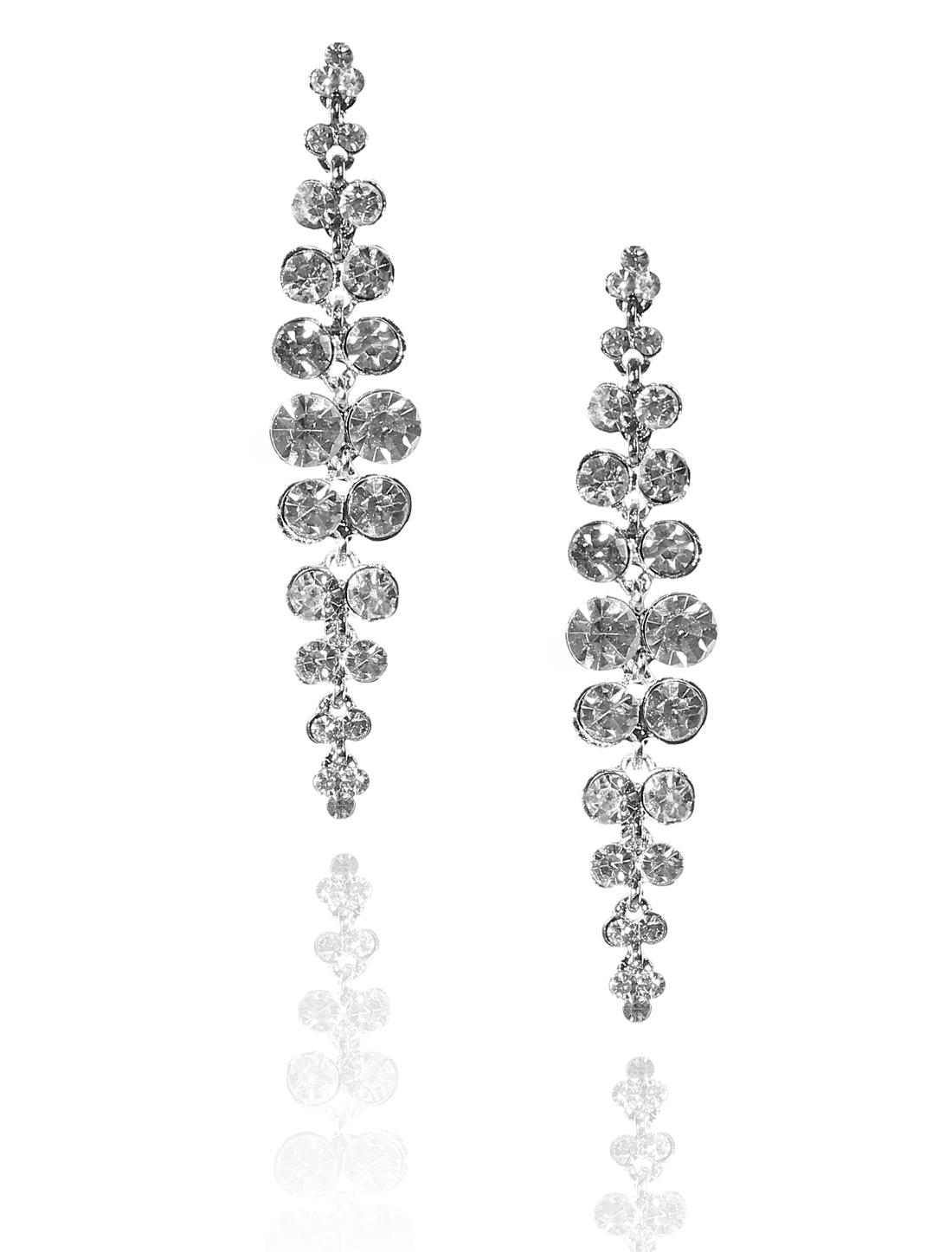 Women Long Tassel Rhinestone Drop Dangle Hook Earring Ear Stud White