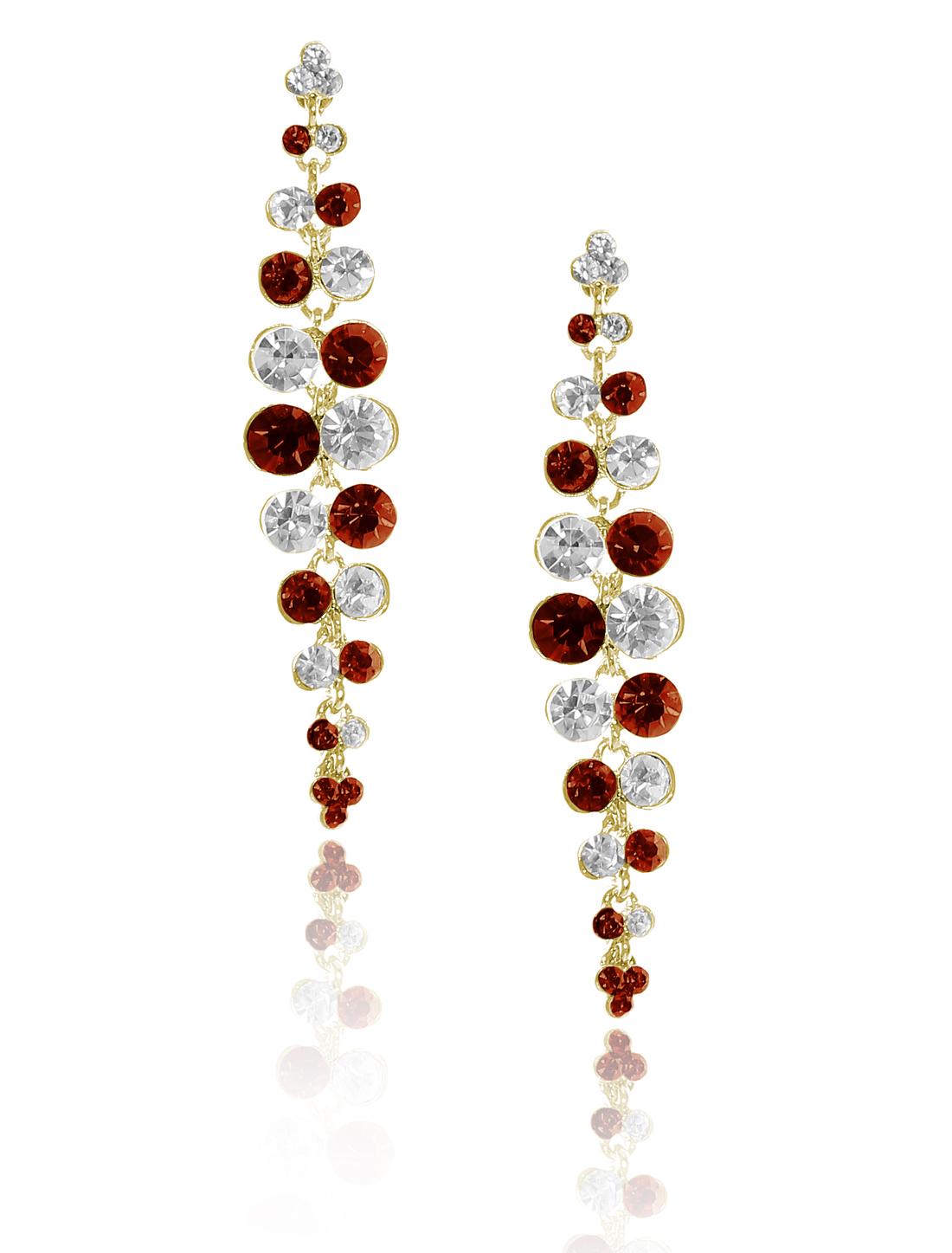 Women Long Tassel Rhinestone Drop Dangle Hook Earring Ear Stud Champagne