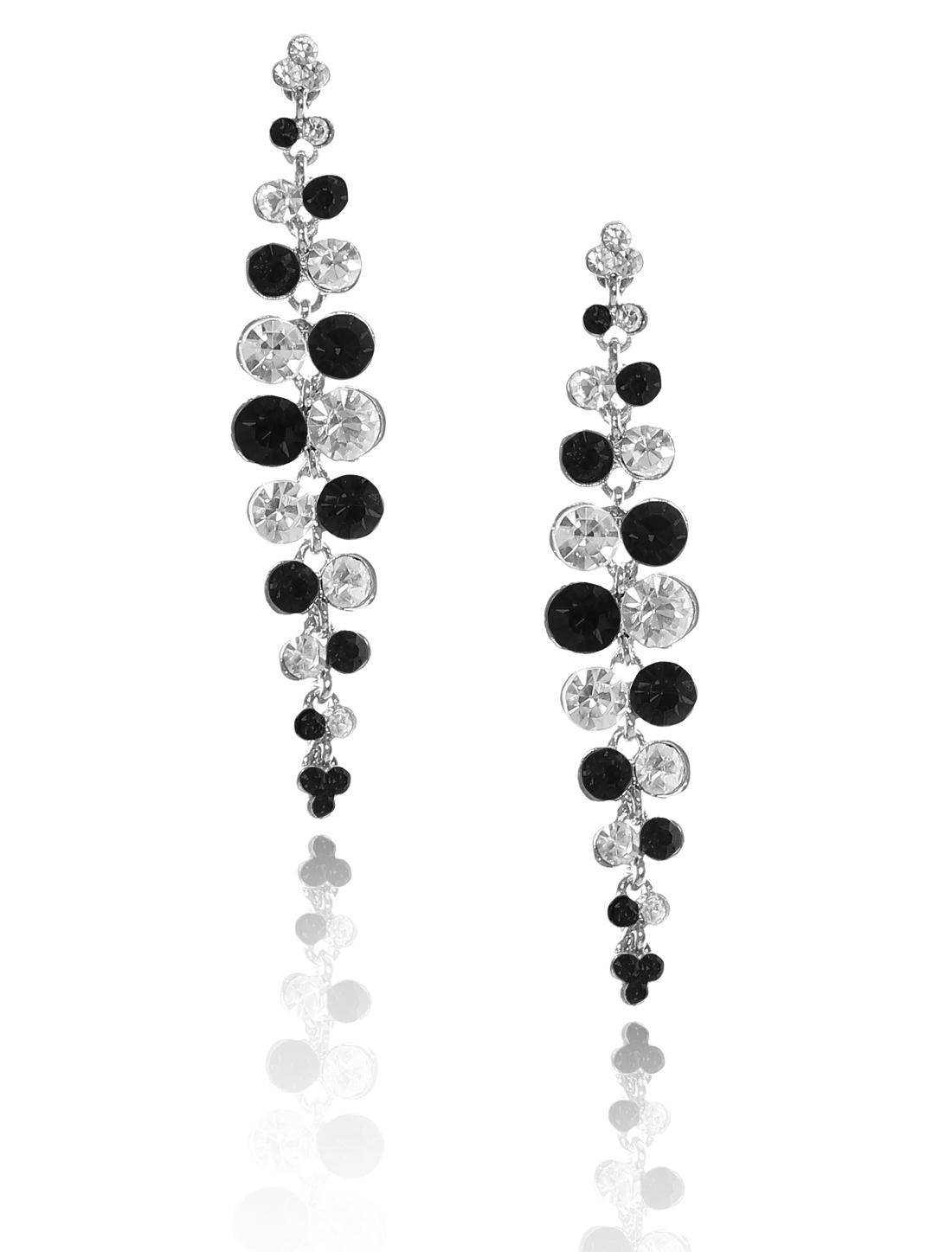Women Long Tassel Rhinestone Drop Dangle Hook Earring Ear Stud Black