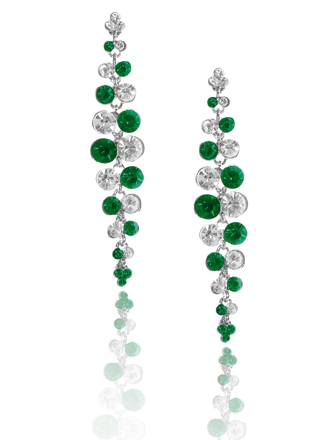 Women Long Tassel Rhinestone Drop Dangle Hook Earring Ear Stud Green