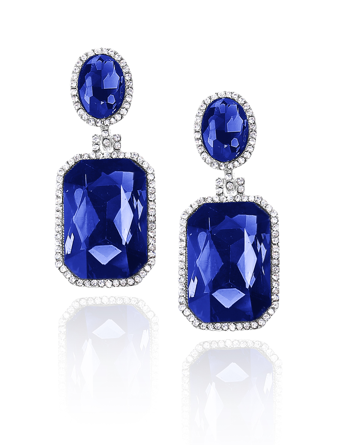 Women Square Rhinestone Drop Dangle Hook Earring Ear Stud Dark Blue