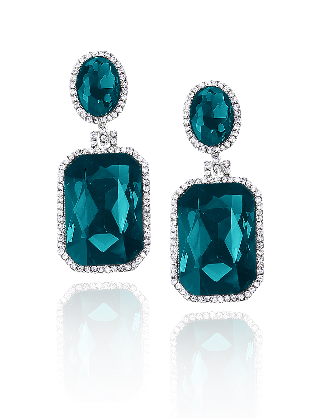 Women Square Rhinestone Drop Dangle Hook Earring Ear Stud Peacock Blue