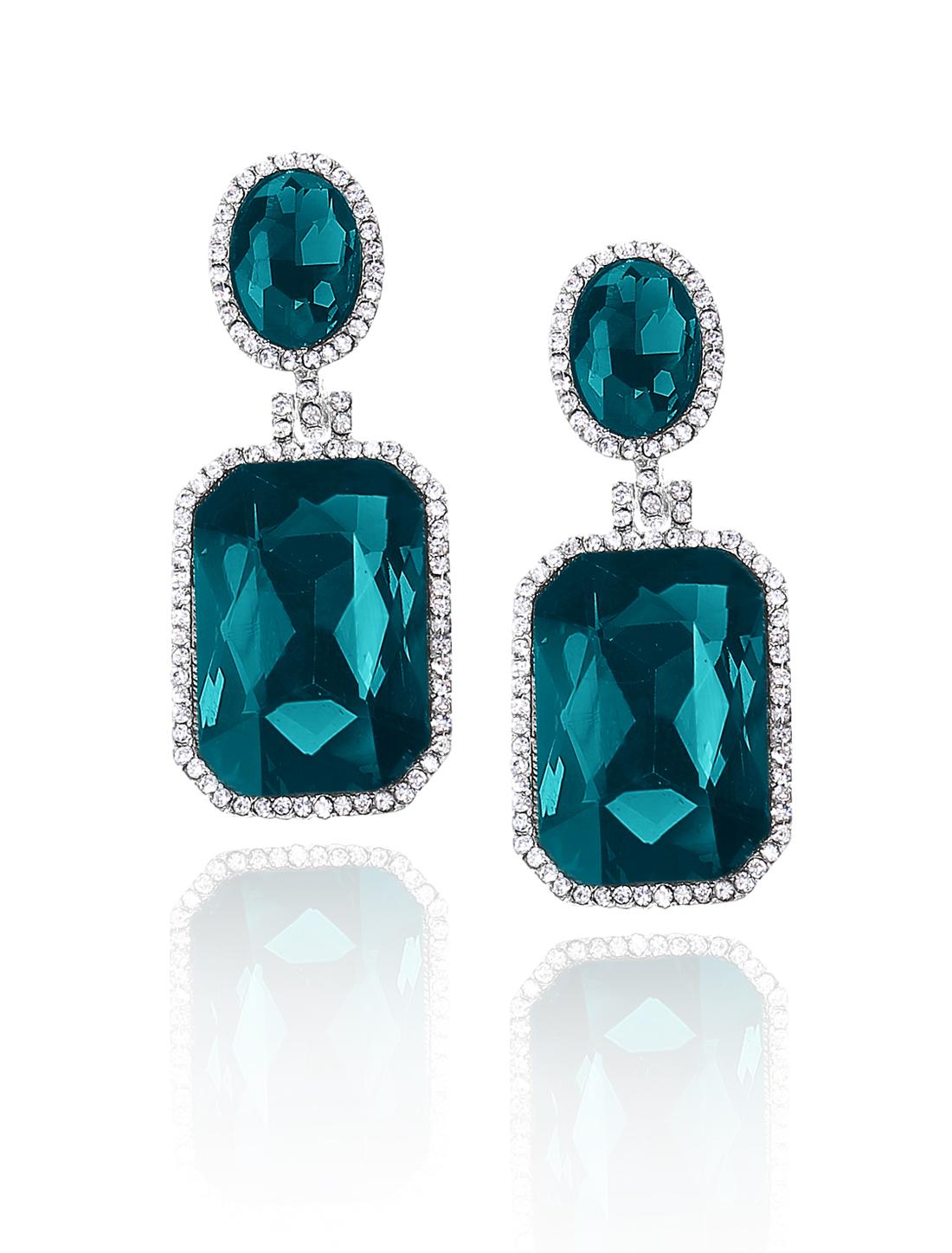 Women Square Rhinestone Drop Dangle Hook Earring Ear Stud Peacock Blue