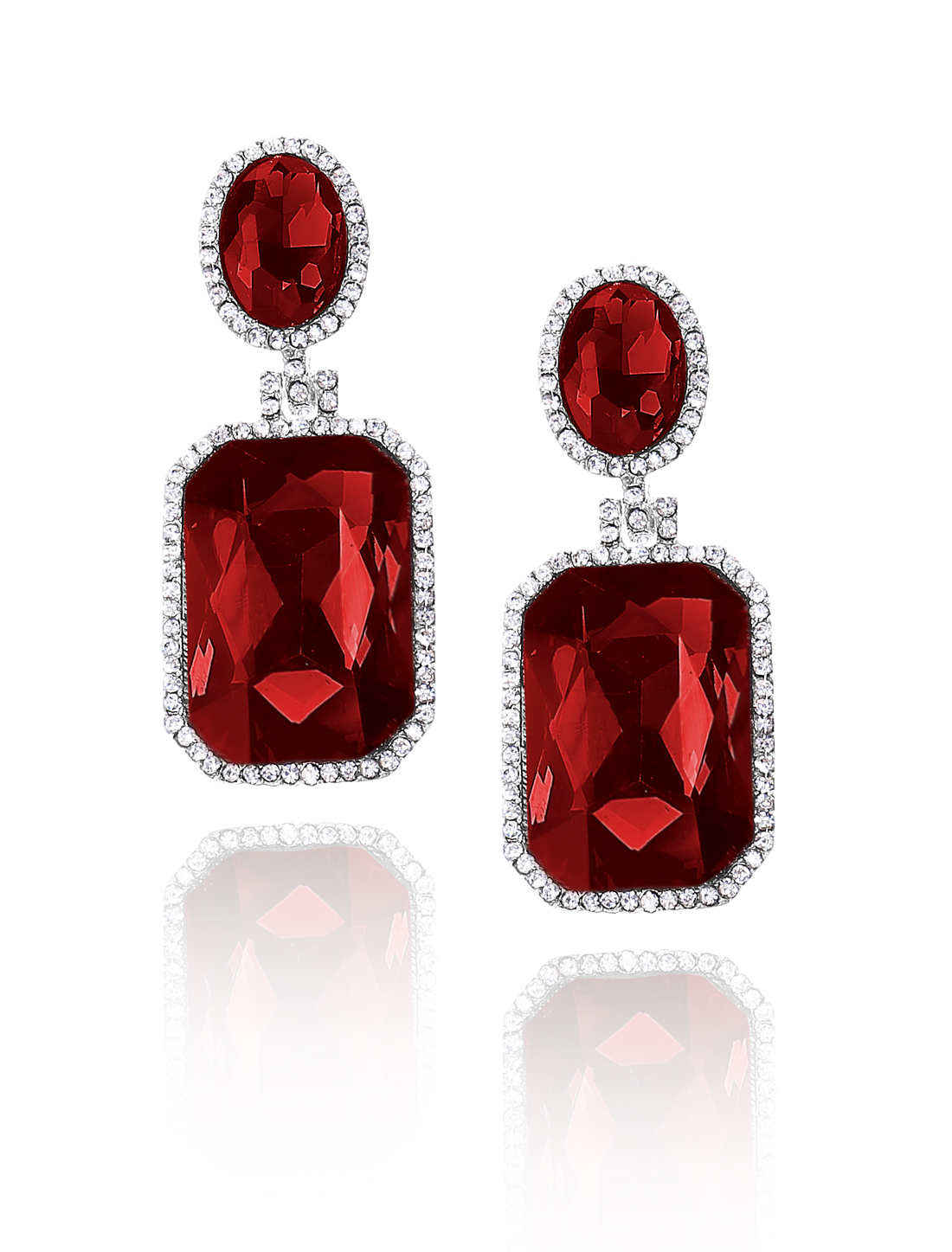 Women Square Rhinestone Drop Dangle Hook Earring Ear Stud Red
