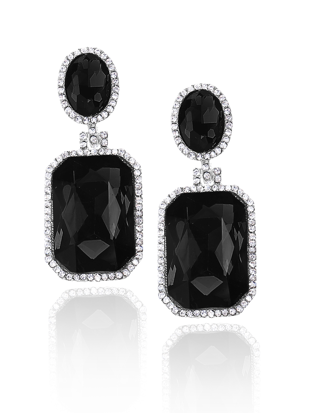 Women Square Rhinestone Drop Dangle Hook Earring Ear Stud Black