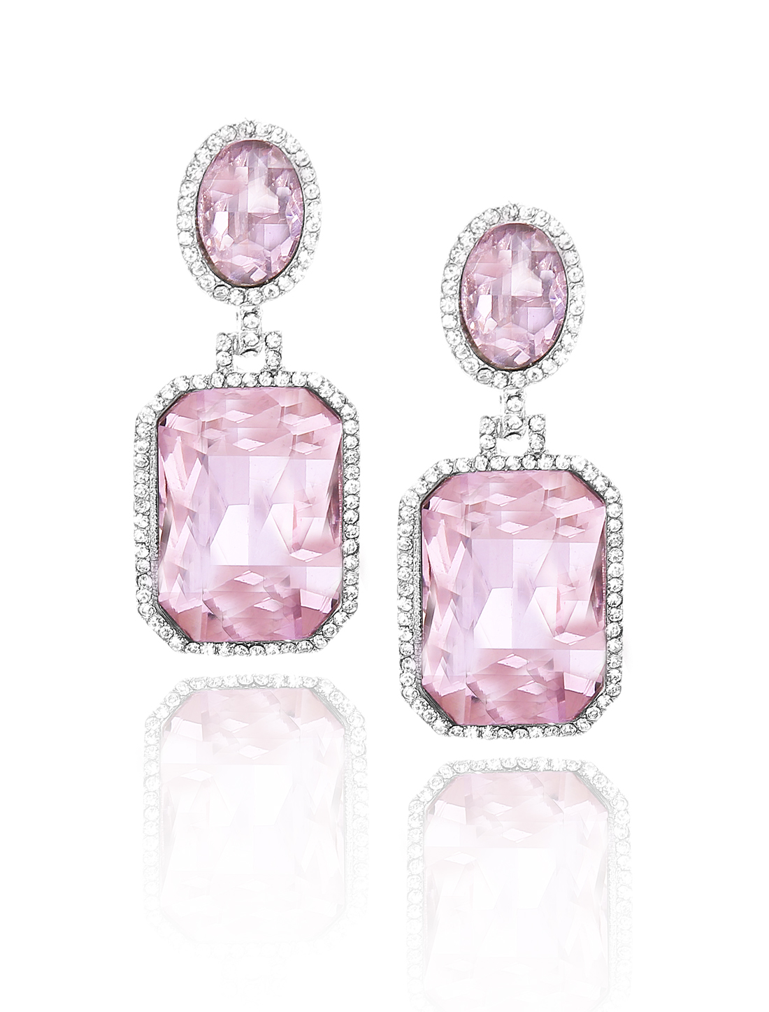 Women Square Rhinestone Drop Dangle Hook Earring Ear Stud Pink