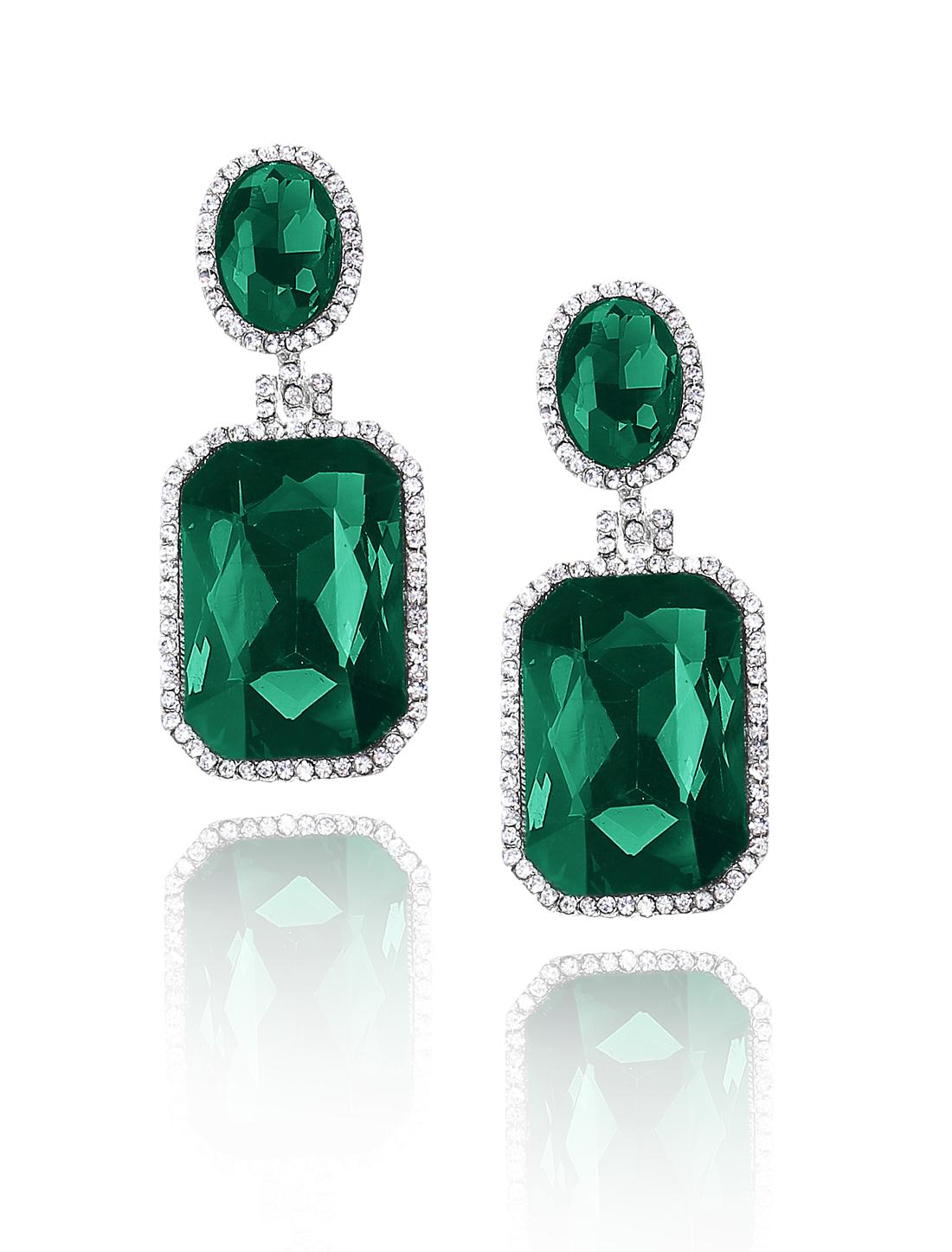 Women Square Rhinestone Drop Dangle Hook Earring Ear Stud Dark Green