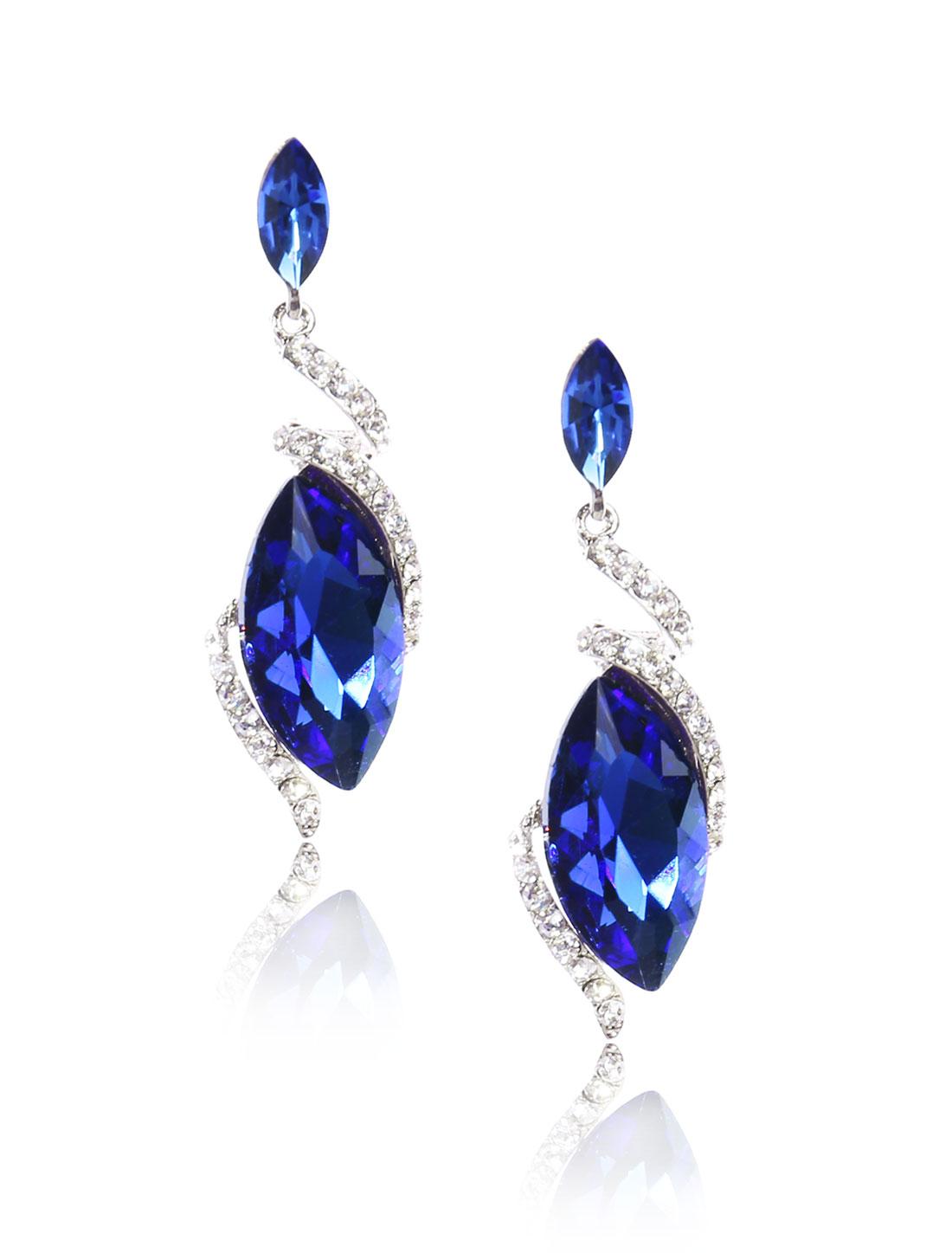 Women Irregular Rhinestone Drop Dangle Hook Earring Ear Stud Dark Blue