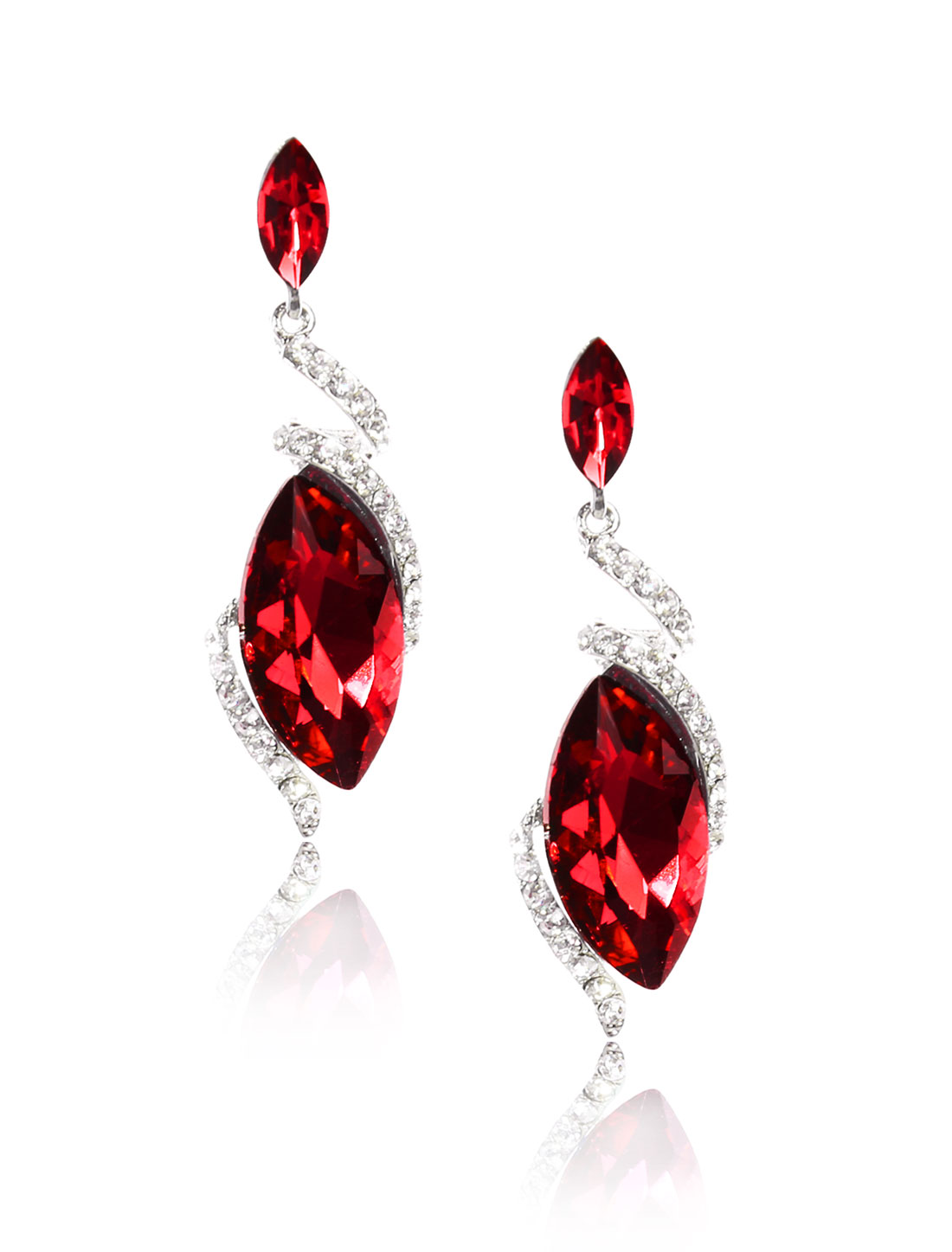 Women Irregular Rhinestone Drop Dangle Hook Earring Ear Stud Red